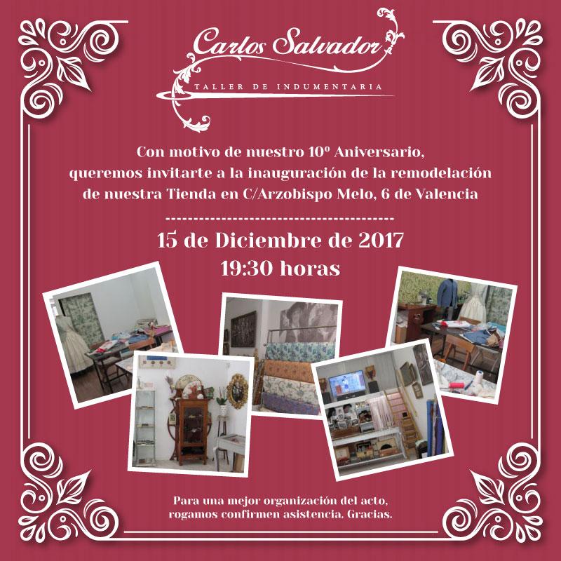 Invitacion remodelacion tienda Carlos Salvador - 10 Aniversario